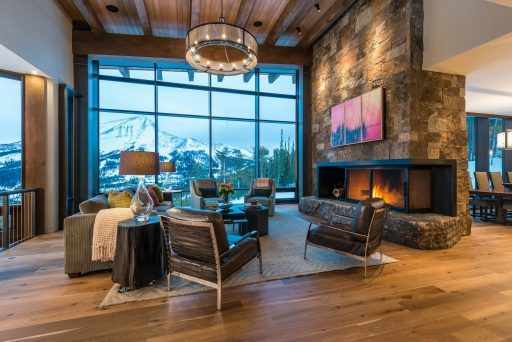 Timber curtain window wall living room view