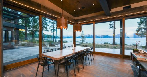 Corner meet lift & slide door unit Lake Tahoe, Nevada interior kitchen view