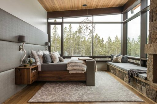 Timber curtain window wall master bedroom interior view