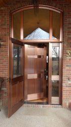 Copper Entry Door with custom copper screen door
