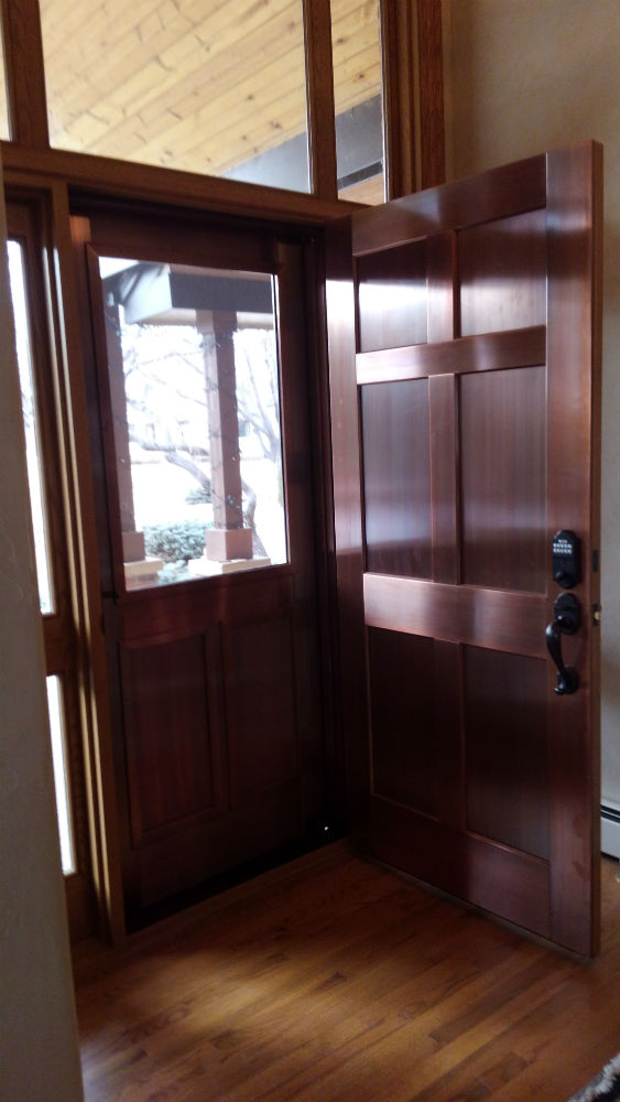 Six panel copper entry door unit