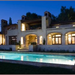 Custom White Oak Windows & Doors from Germany - Evening View at Pool Area